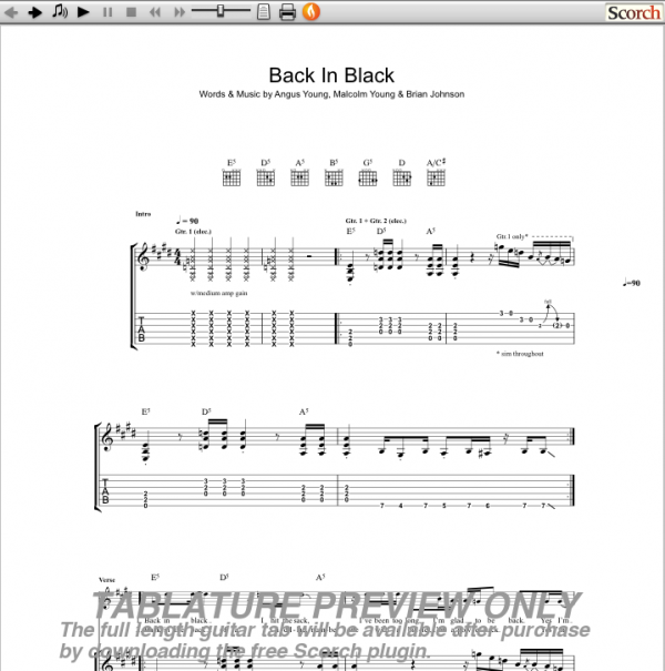 Guitar guitar tabs back in black : Black Bass Tabs