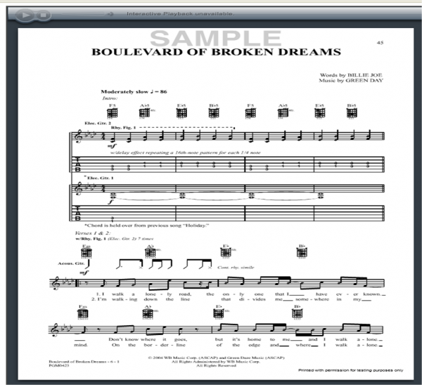 Green Day Boulevard of Broken Dreams Guitar Tab : Free Green Day ...