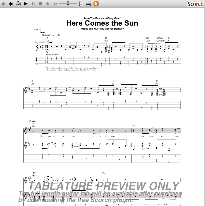 here-comes-the-sun-guitar-chords Images - Frompo - 1