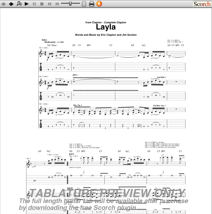 how to play layla on guitar tabs