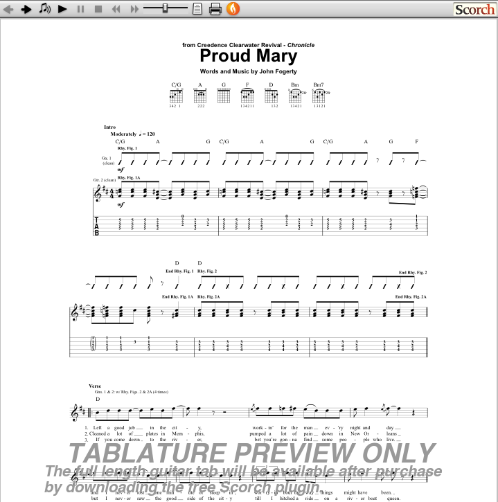 CCR Proud Mary Guitar Tab : Free CCR Guitar Tabs