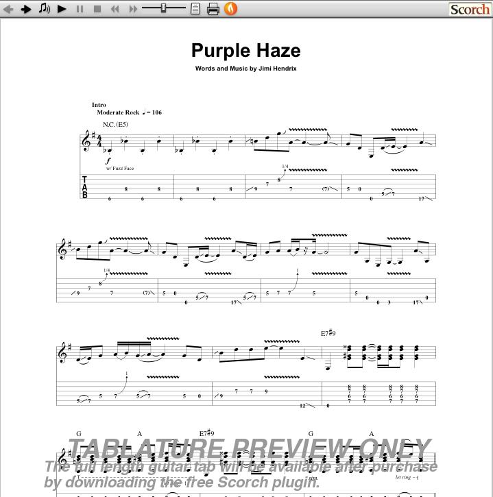 Jimi Hendrix Purple Haze Guitar Tab Free Jimi Hendrix Guitar Tabs