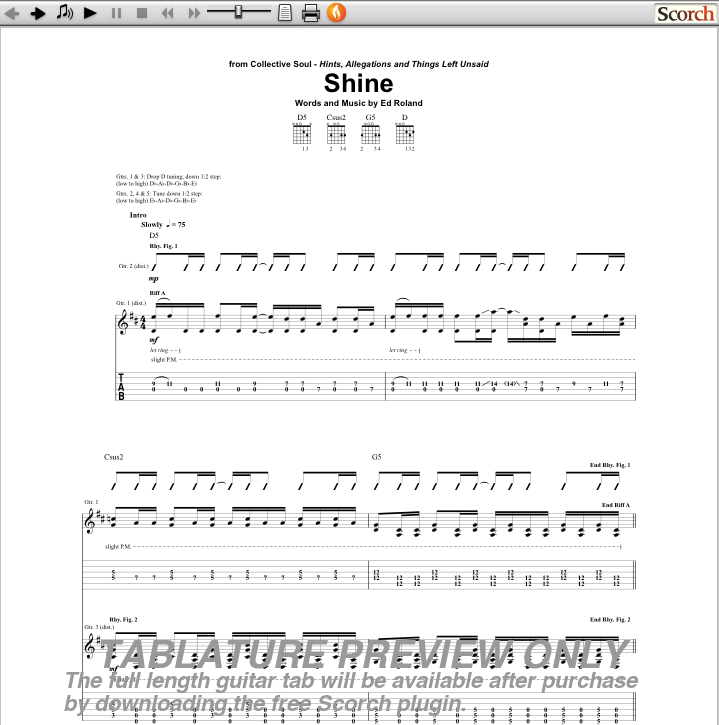 Collective Soul Shine Guitar Tab : Free Collective Soul Guitar Tabs