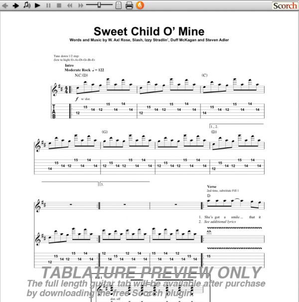 Sweet Child O Mine Guns N Roses Guitar Tab - Hot Girls Wallpaper