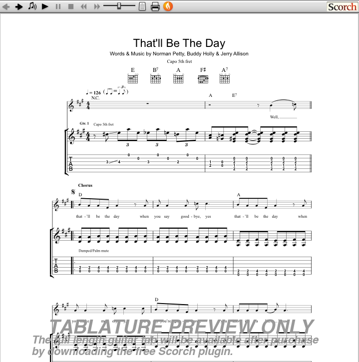 Buddy Holly Thatll Be The Day Guitar Tab Free Buddy Holly Guitar Tabs