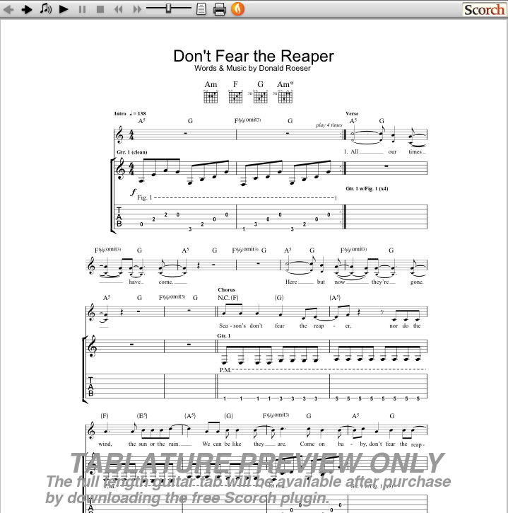 Blue Oyster Cult Dont Fear The Reaper Guitar Tab Free Boc Guitar Tabs