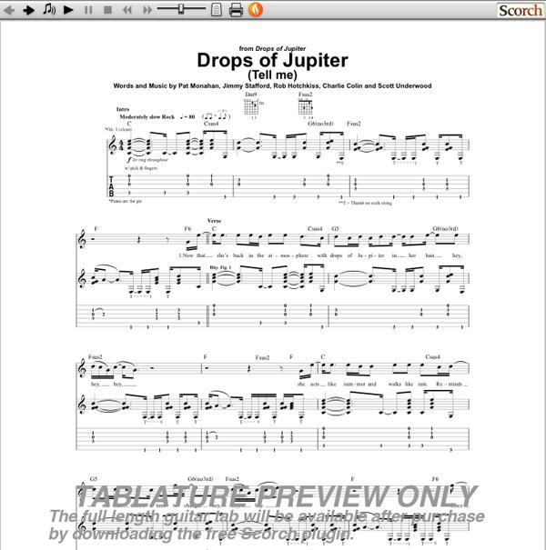 Old Fashioned Drops Of Jupiter Chords Sketch - Beginner Guitar Piano ...