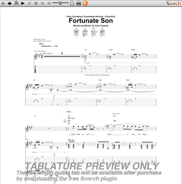 Fortunate Son Guitar Chords