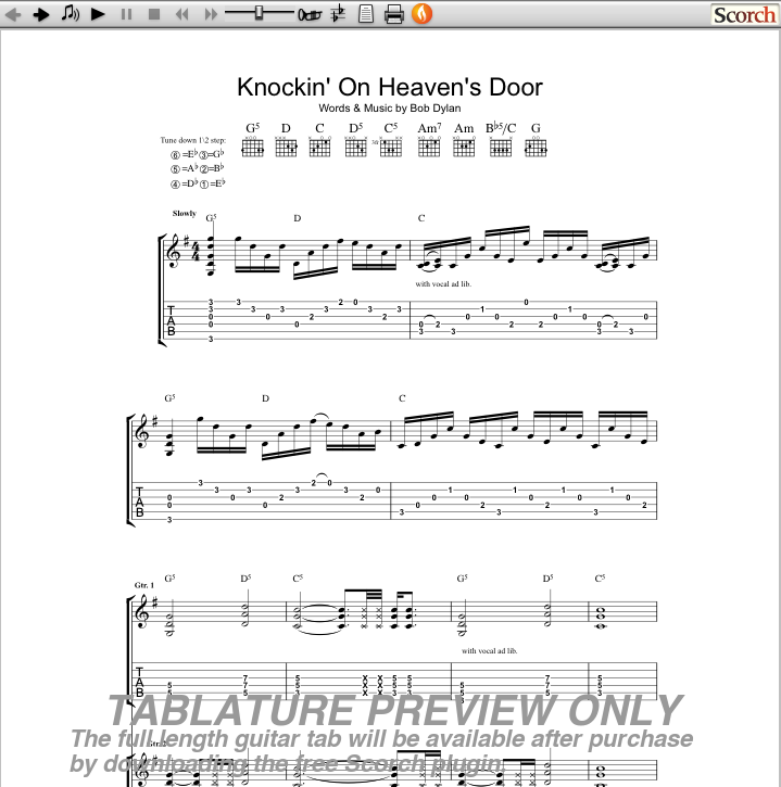 Guns N Roses Knockin On Heavens Door Guitar Tab Free Gnr Guitar Tabs