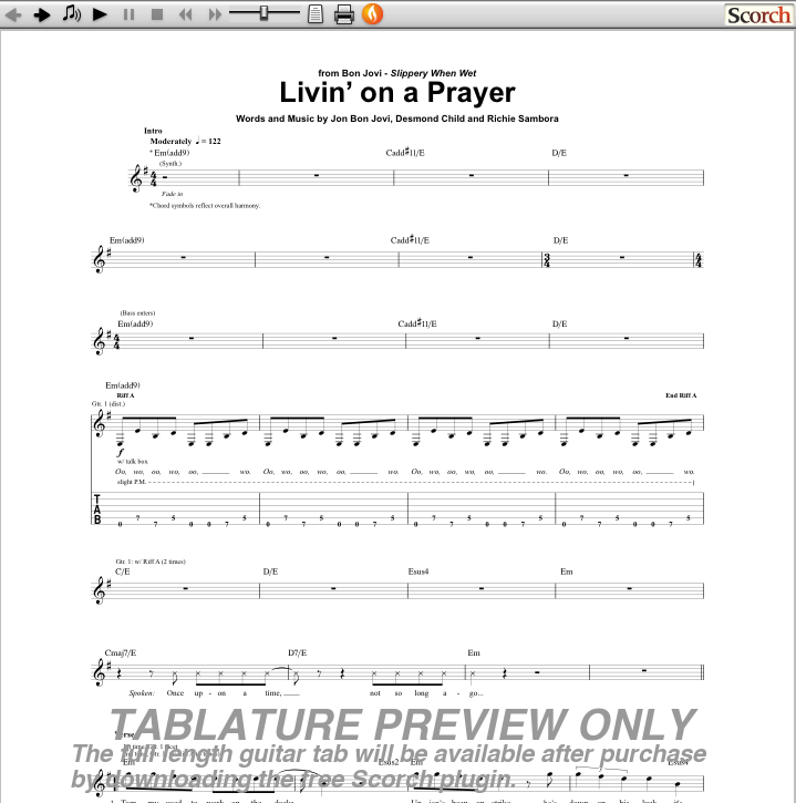 Bon Jovi Livin\' on a Prayer Guitar Tab : Free Bon Jovi Guitar Tabs