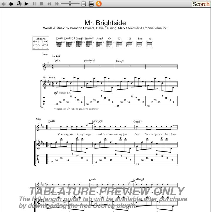The Killers Mr Brightside Guitar Tab Free Killers Guitar Tabs