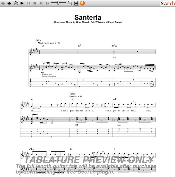 Santeria Tab Piano Santeria Sublime Sheet Music Chords And