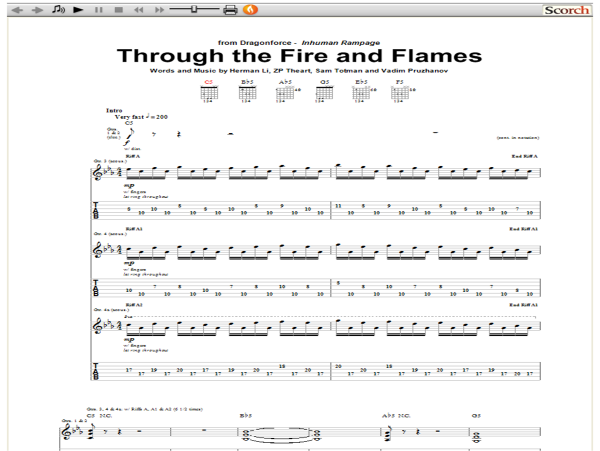 Dragonforce Through The Fire And Flames Guitar Tab Free