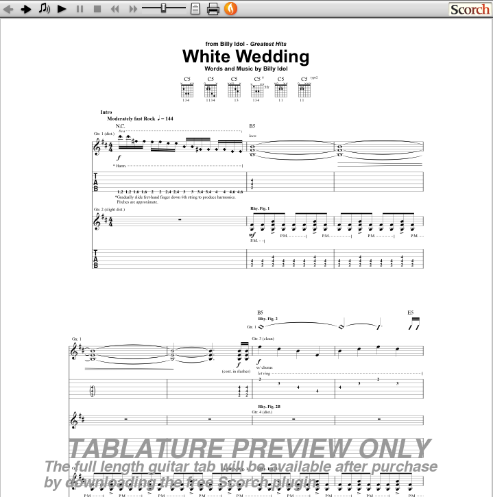 "Get the officially licensed TAB for ""White Wedding"" Guitar TAB Available"