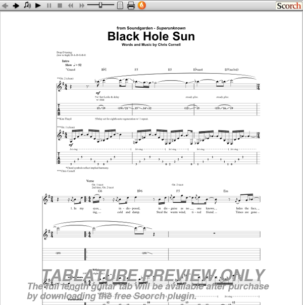 Soundgarden Black Hole Sun Tab