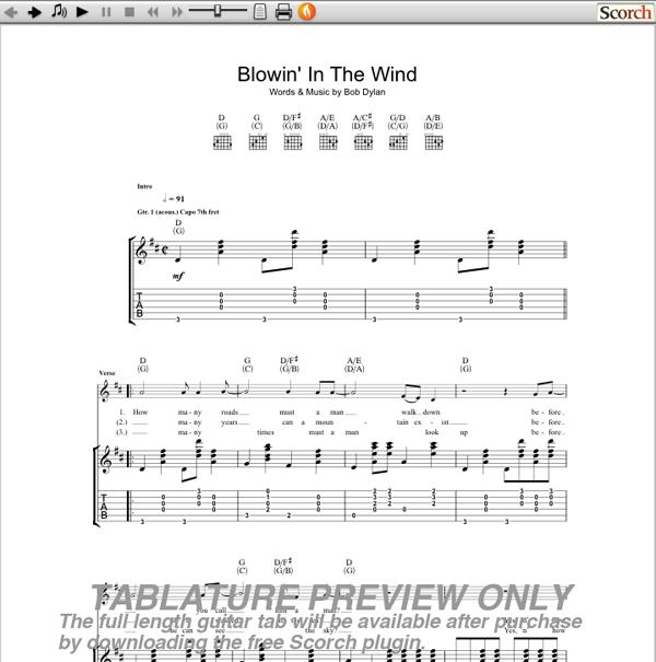 Bob Dylan Blowin\' In the Wind Guitar Tab : Free Bob Dylan Guitar Tabs