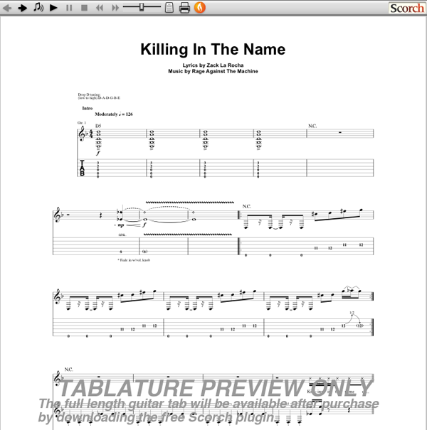 rage against the machine killing in the name guitar tab free rage against the machine guitar tabs. Black Bedroom Furniture Sets. Home Design Ideas
