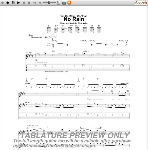 Blind Melon No Rain Guitar Chords