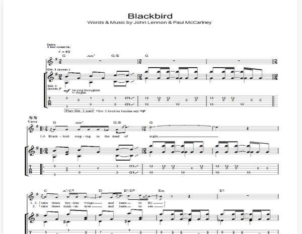 Blackbird by the beatles guitar chords and lyrics best guitar tabs.