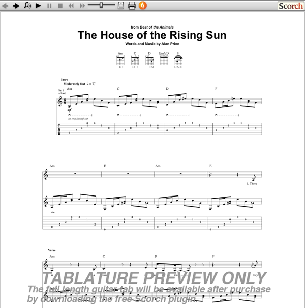 The Animals House Of The Rising Sun Guitar Tab Free Animals Guitar Tab,Breakfast Nook Tables And Chairs Set
