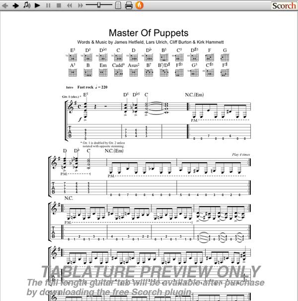 Metallica Master of Puppets Guitar Tab : Free Metallica Guitar Tab