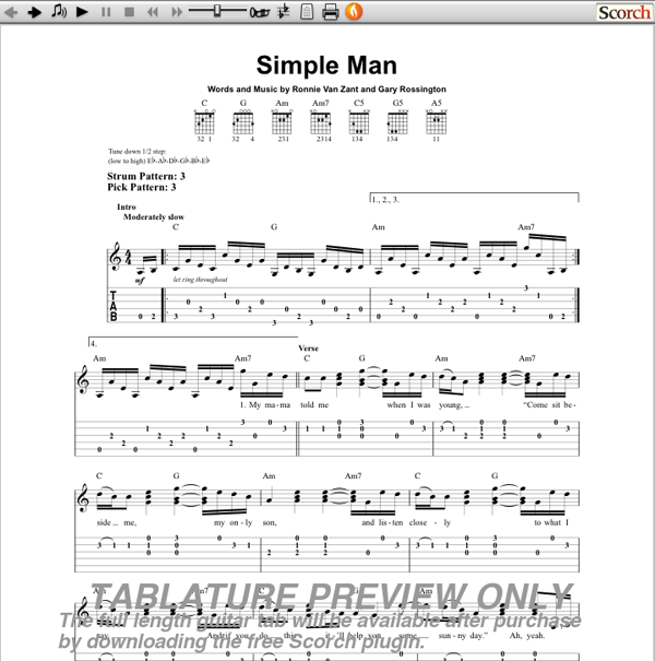 photoaltan24: simple man lynyrd skynyrd chords guitar