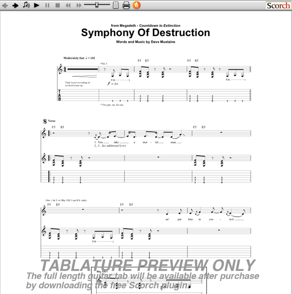 symphony of destruction megadeth tab