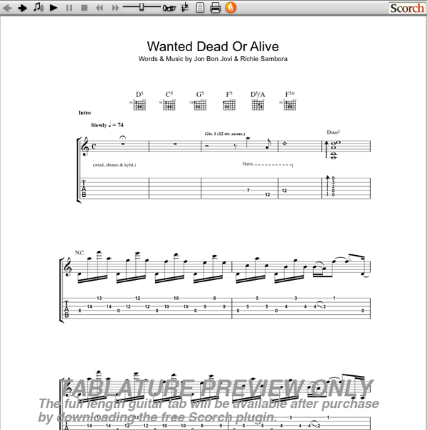Bon Jovi Wanted Dead or Alive Guitar Tab : Free Bon Jovi Guitar Tabs