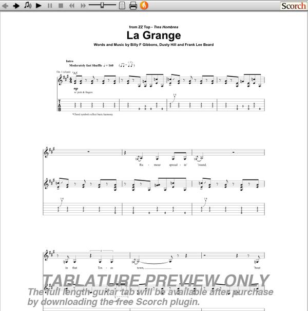 Guitar u00bb Guitar Tabs Zz Top La Grange - Music Sheets, Tablature, Chords and Lyrics