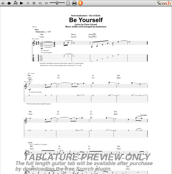 Audioslave Be Yourself Guitar Tab