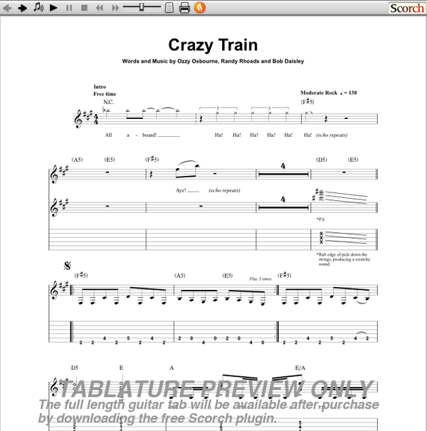 Guitar crazy train guitar tabs : ozzy osbourne tabs guitar crazy train
