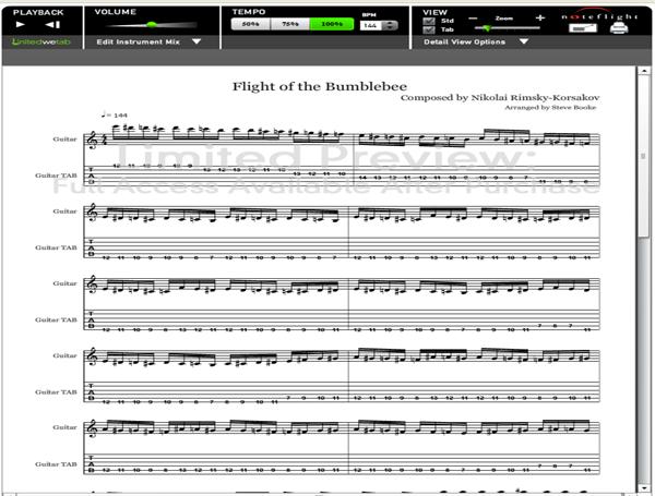 Flight of the Bumblebee Guitar Tab