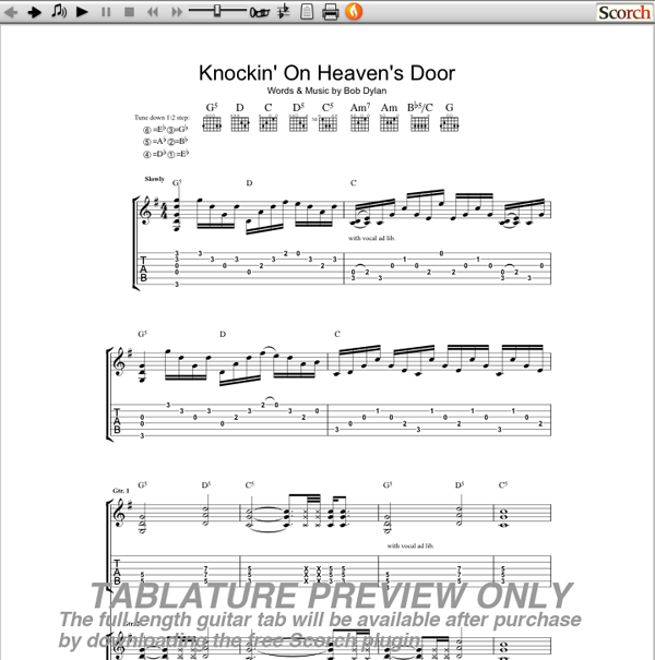 GnR Knocking On Heaven's Door Guitar Tab : Free Guitar TAb