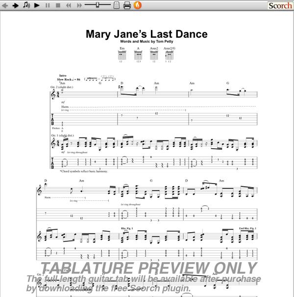Tom Petty Mary Janes Last Dance Guitar Tab Free Guitar Tab : Auto Design Tech