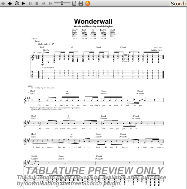 Célèbre Guitar : wonderwall guitar tabs Wonderwall Guitar , Wonderwall  CQ01