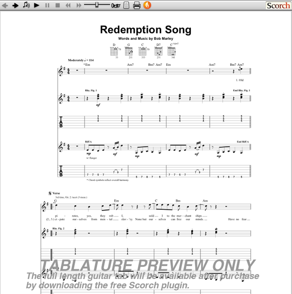 Guitar chords for redemption