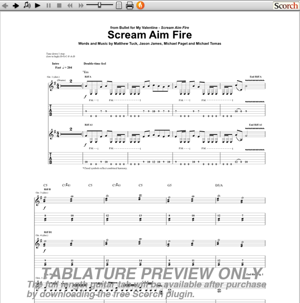 Bullet For My Valentine Scream Aim Fire Guitar Tab