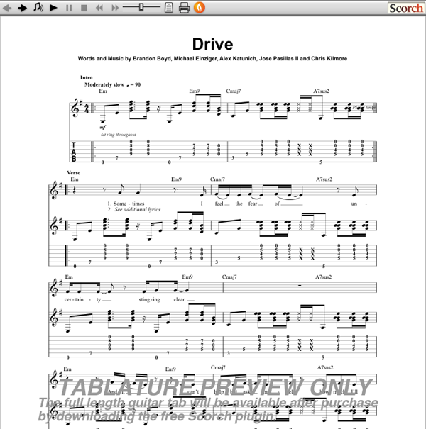 Incubus Drive Guitar Tab | GuitarInternational.com