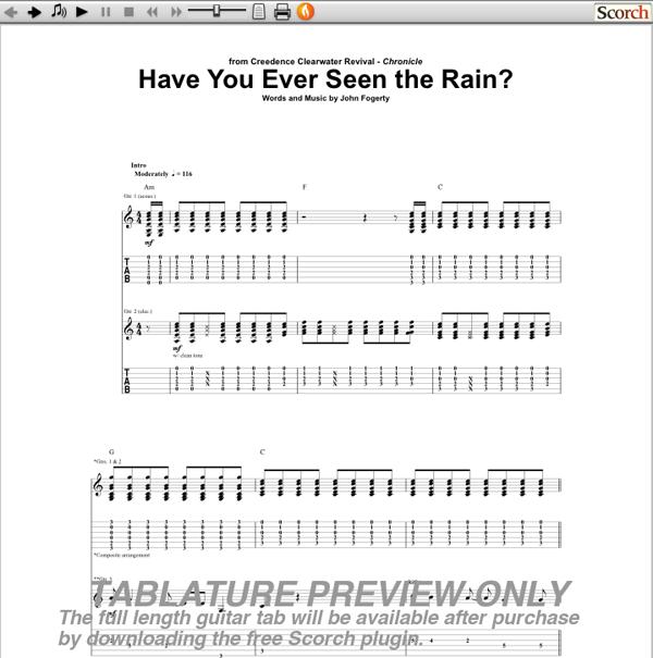 CCR Have You Ever Seen the Rain Guitar Tab | GuitarInternational.com