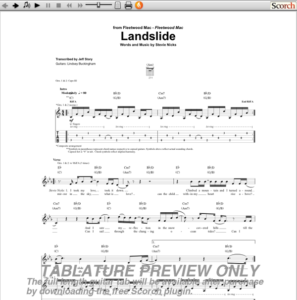fleetwood mac landslide guitar tab. Black Bedroom Furniture Sets. Home Design Ideas