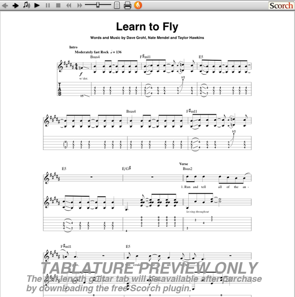 Foo fighters learn to fly guitar tab guitarinternational com