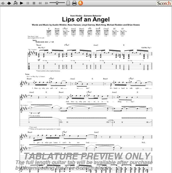 Hinder Lips of an Angel Guitar Tab | GuitarInternational.com