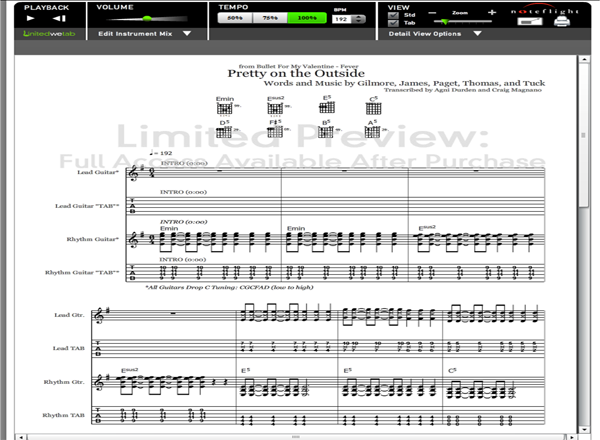 Bullet For My Valentine Pretty On The Outside Guitar Tab