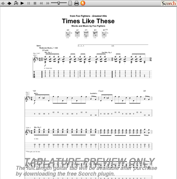 Foo Fighters Times Like These Guitar Tab Guitarinternational