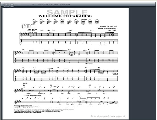 Green Day Welcome To Paradise Guitar Tab Guitarinternational