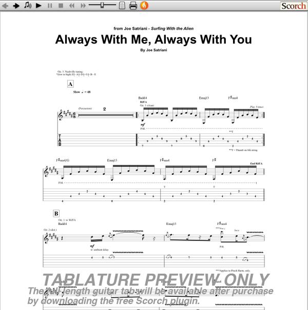 Joe Satriani Always With You Always With Me Guitar Tab