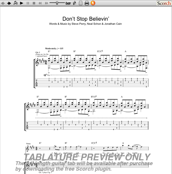 Piano Tabs Dont Stop Believing Journey Music Sheets Chords