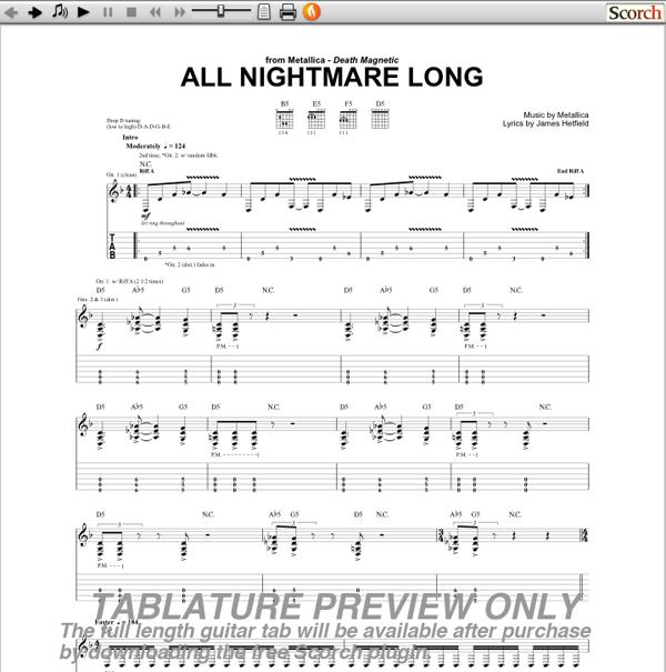 Metallica All Nightmare Long Guitar Tab Guitarinternational