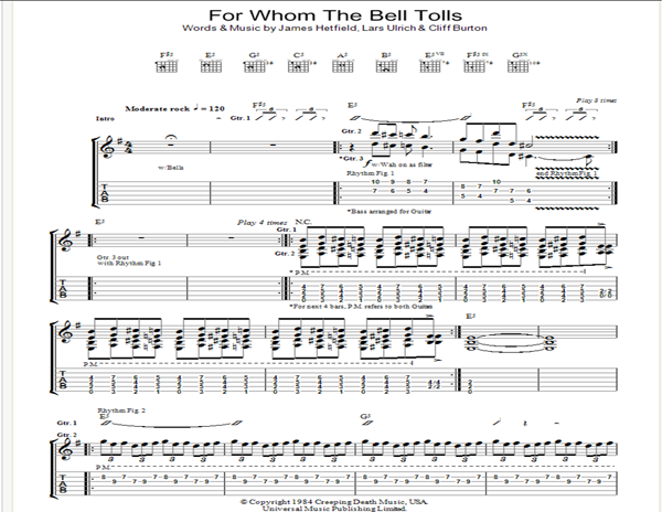 for whom the bell tolls guitar pro tab downloads