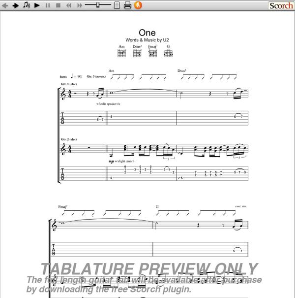 U2 One Guitar Tab | GuitarInternational.com